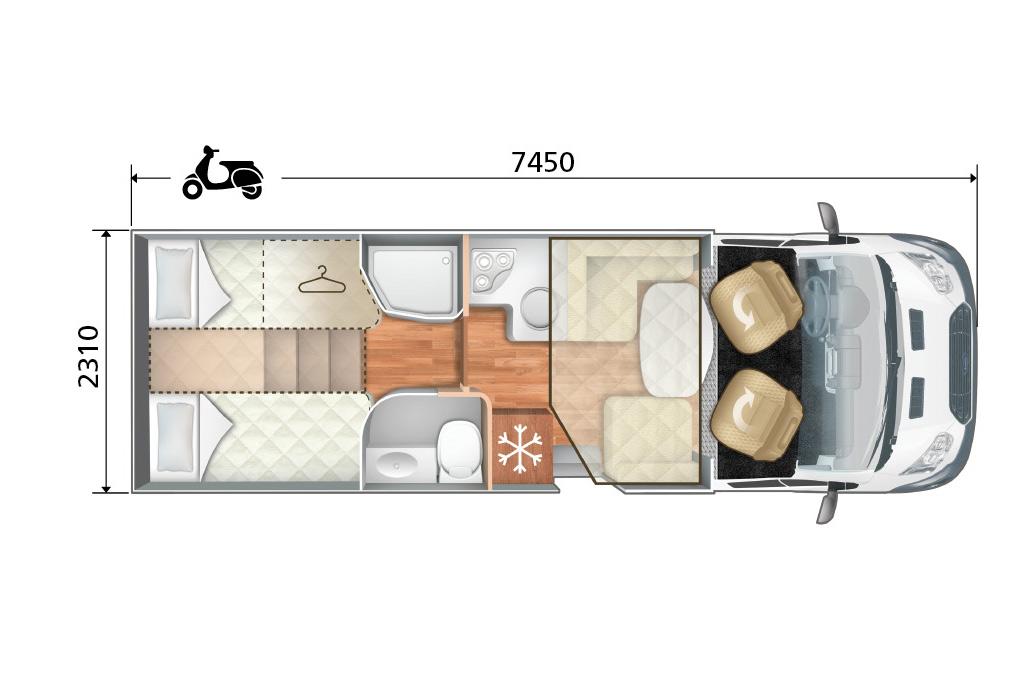 Autocaravana Elliot 84 XT plano